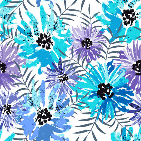 Seamless tropical vector pattern with watercolor flowers