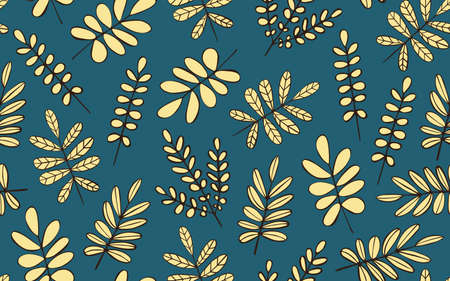 Seamless pattern with decorative leaves 일러스트