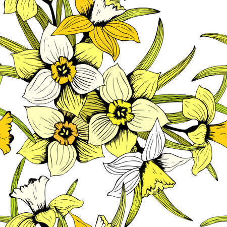 Seamless vector hand drawn daffodil pattern