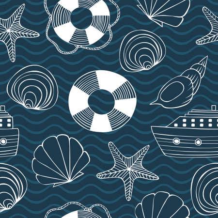 Seashells, sea stars, lifebuoy, ship and waves seamless background