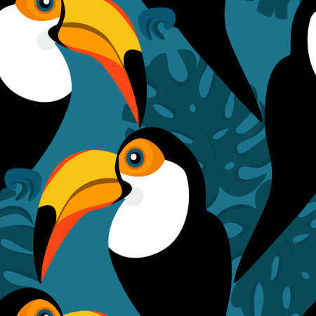 Seamless pattern with toucans and monstera leaves Standard-Bild - 134724440