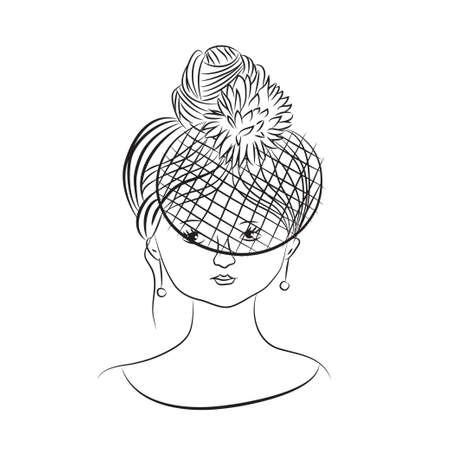 Hand drawn vector lady in veil Ilustración de vector