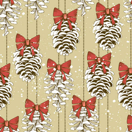 Seamless vector pattern with hanging pine cones with bows Ilustrace