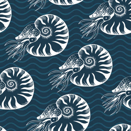 Seamless vector pattern with nautilus on deep blue background