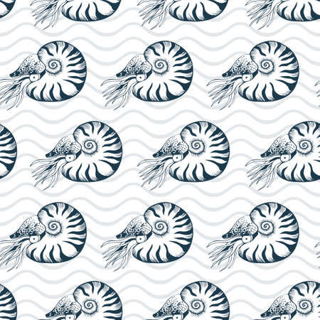 Seamless vector pattern with nautilus 일러스트
