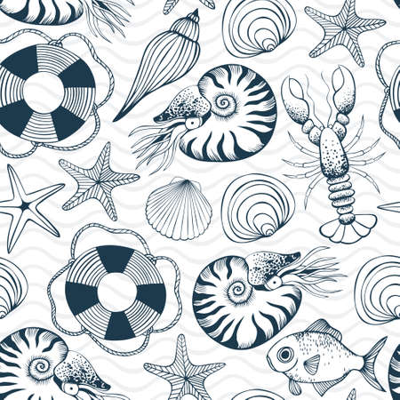 Seamless pattern with sea shells, stars, animals and swimming ring