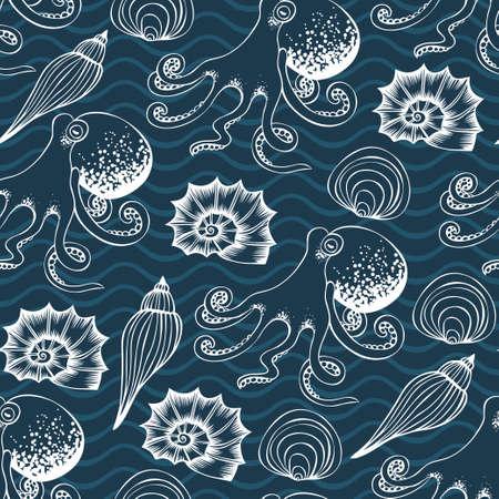 Hand drawn sea shells and octopus seamless pattern 向量圖像