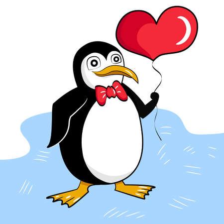 Pingwin w muszce z balonem w kształcie serca Ilustracje wektorowe
