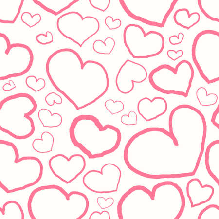 Seamless vector pattern with pink hearts