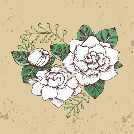 Hand drawn floral heart with gardenia