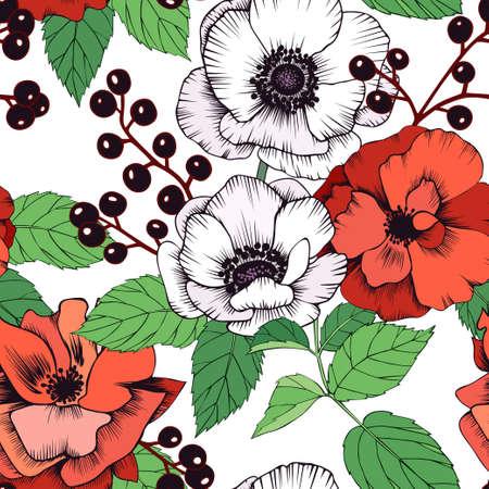 Seamless vector pattern with anemones, privet berries, roses and leaves Ilustração Vetorial