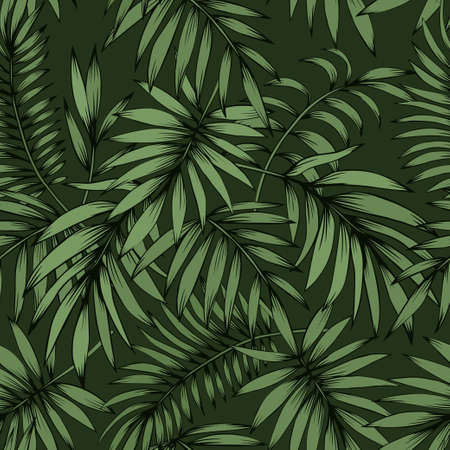 Seamless vector tropical pattern with palm leaves