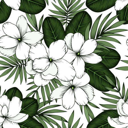 Jasmine flowers and palm leaves seamless pattern
