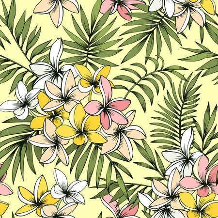 Frangipani and palm seamless pattern