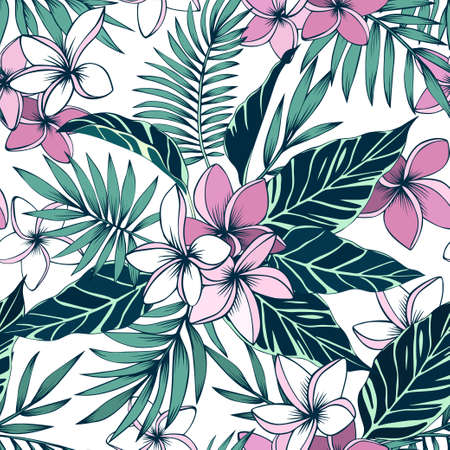Frangipani flowers and tropical leaves seamless vector pattern Иллюстрация