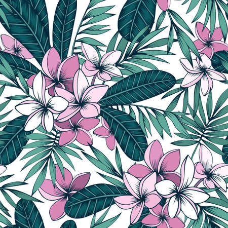 Tropical seamless background with plumeria and palm
