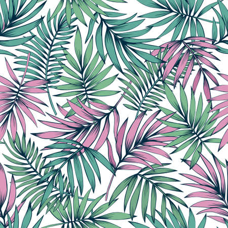 Palm leaves seamless pattern in pink and blue colors