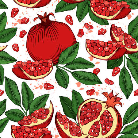 Seamless vector pattern with pomegranate fruits and leaves