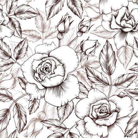 Seamless vector vintage pattern with roses. Flowers, leaves and buds. Wallpaper, textile, print design