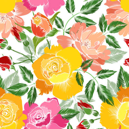 Seamless vector abstract pattern with roses. Flowers, leaves and buds. Wallpaper, textile, print design 向量圖像