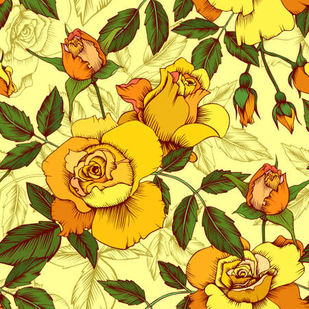 Seamless vector vintage pattern with yellow roses. Wallpaper, textile, print design Ilustrace