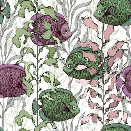 Seamless vector marine pattern. Fish swimming between algae. Wallpaper, textile, print design