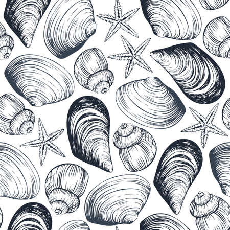 Seamless vector pattern with hand drawn sea shells and stars. Line art on white background. Wallpaper, textile, print design  イラスト・ベクター素材