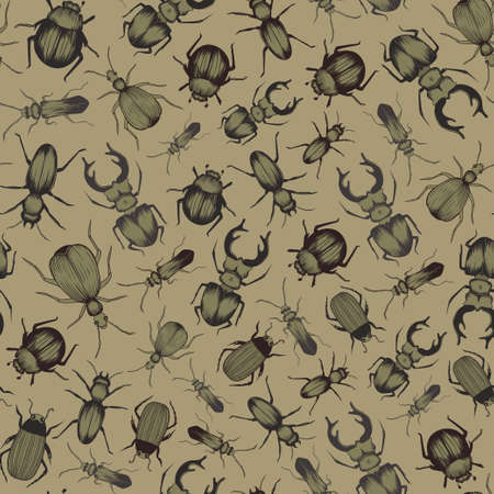 Hand drawn beetles. Seamless vector pattern. Wallpaper, textile, print design