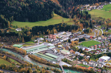 Top view of European village in late Autumn. Bischofshofen, Austria. Stock Photo
