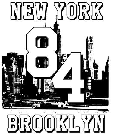 Typography slogan with new york for shirt printing illustration