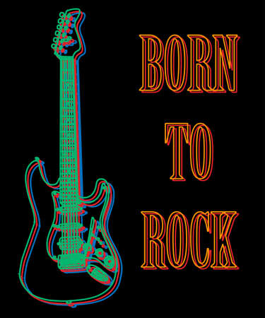 Typography slogan with hand drawn guitar  for t shirt printing, Graphic tee and printed tee. Neon sign style