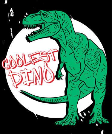 Hand drawn dinosaur illustration vector on dark background. Illustration