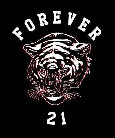 Tiger grunge aesthetic t-shirt illustration.