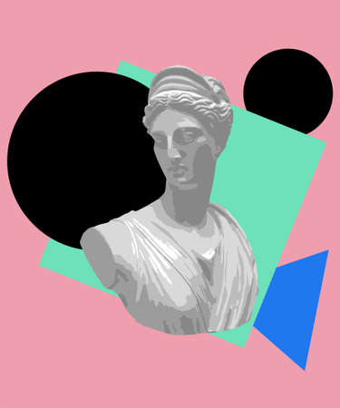 Vaporwave aesthetic t shirt illustration. Vector graphic for t shirt printing, Graphic tee and Printed tee. Trendy aesthetic wallpaper