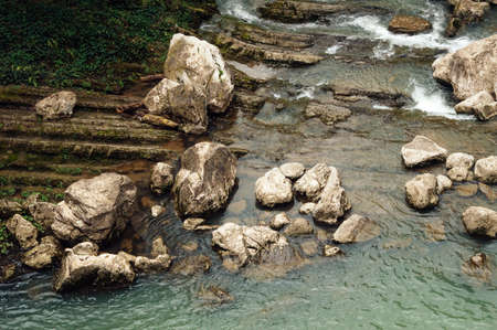 Mountain river. View from above. Beautiful background. 免版税图像