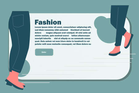 Website Layout with Flat People Legs. Easy to Edit and Customize. Vector illustration 矢量图像