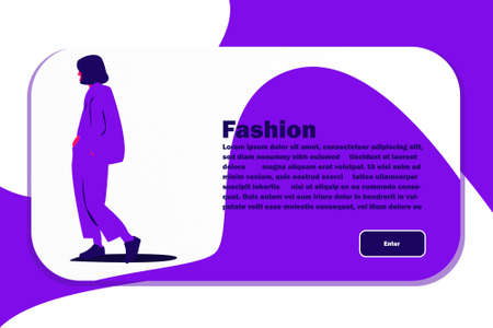Website Layout with Flat Girl Character. Easy to Edit and Customize. Vector illustration