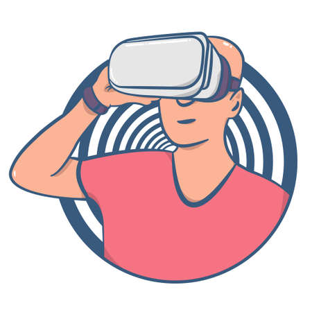 Futuristic synthwave style person with vr glasses vector.