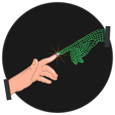 Futuristic retrowave style hands vector. 矢量图像