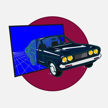Retro style car synthwave vector illustration.