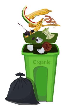 Vector illustration of organic trash drops in the trash