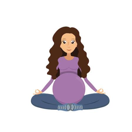 Vector illustration of Pregnant woman meditation. Meditation