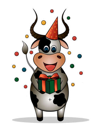 Vector drawing of a cartoon bull. Bull celebrates birthday. Bull with a gift