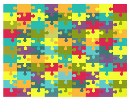 Vector illustration of multicolored puzzles
