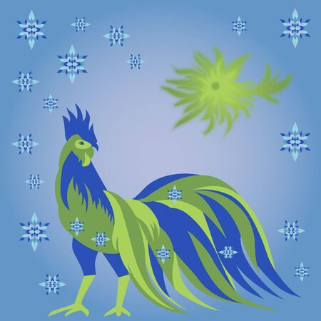 Rooster with sun and snowflakes
