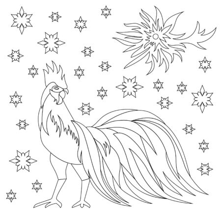 Childrens coloring of rooster with snowflakes and sun
