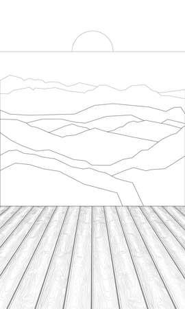 Coloring of wooden planks against the background of hills Illusztráció