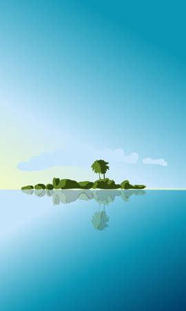 Tropical island on the background of water and sky Illusztráció