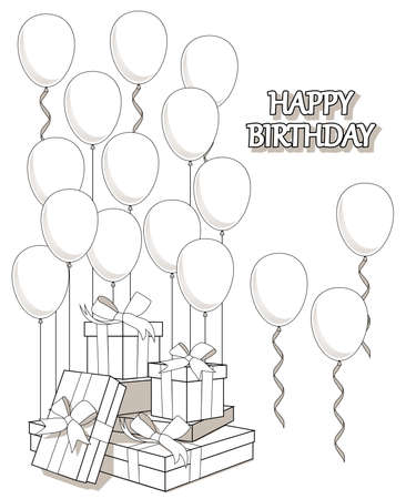 Coloring of greeting card with gifts and balloons