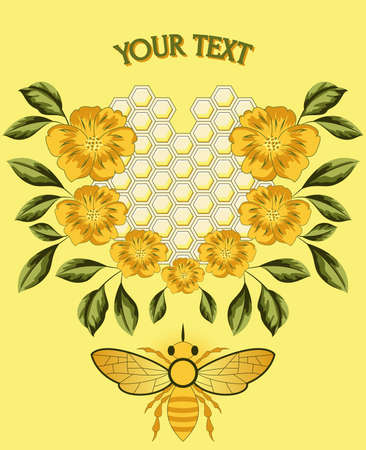 Bee with flowers and honeycomb Ilustrace